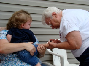 Grandma Betty Painting Gracie\'s Toes